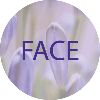 Display picture with the word Face on it and a light violet flower background
